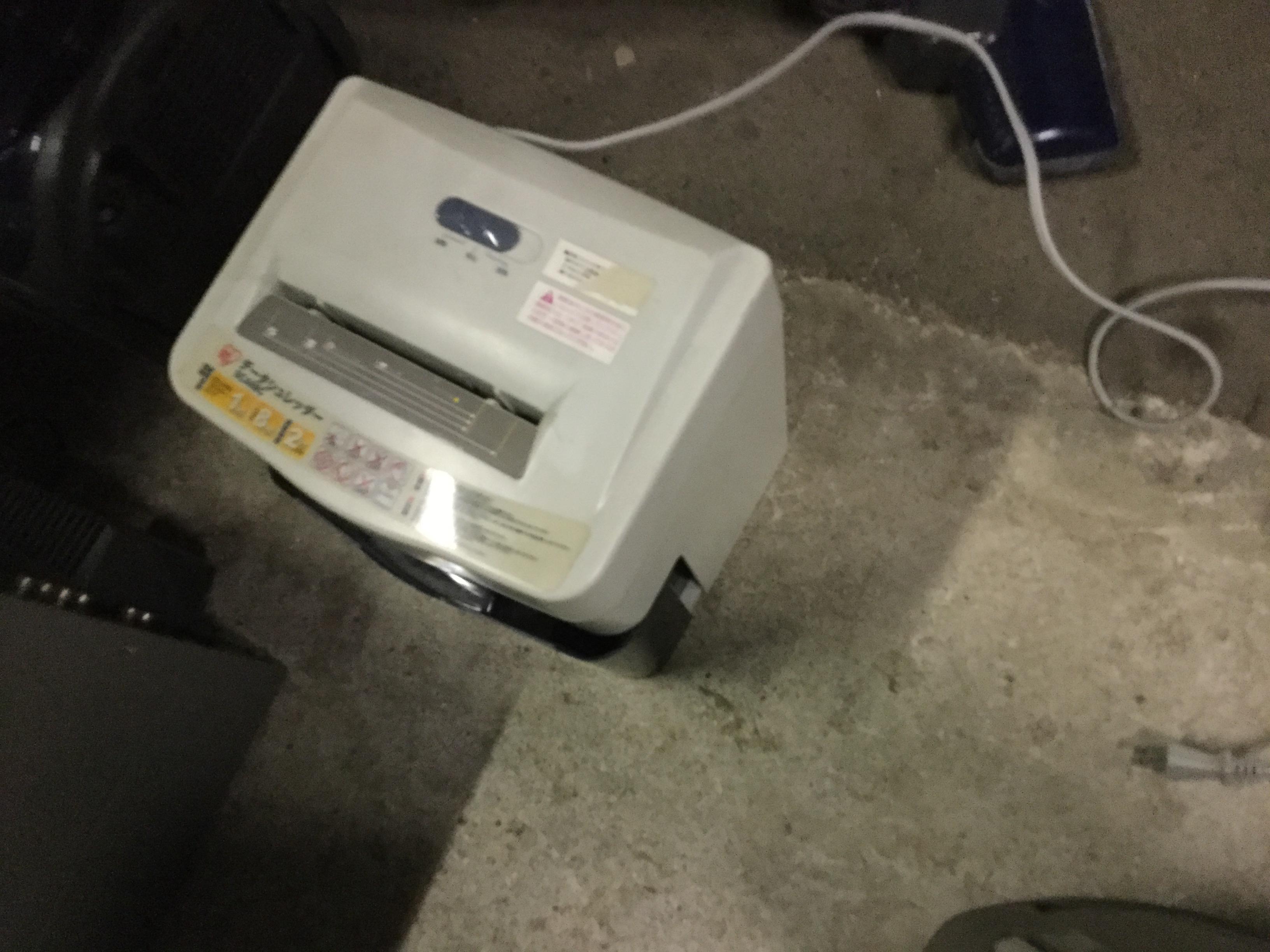 岡山市南区で不用品回収したシュレッダー