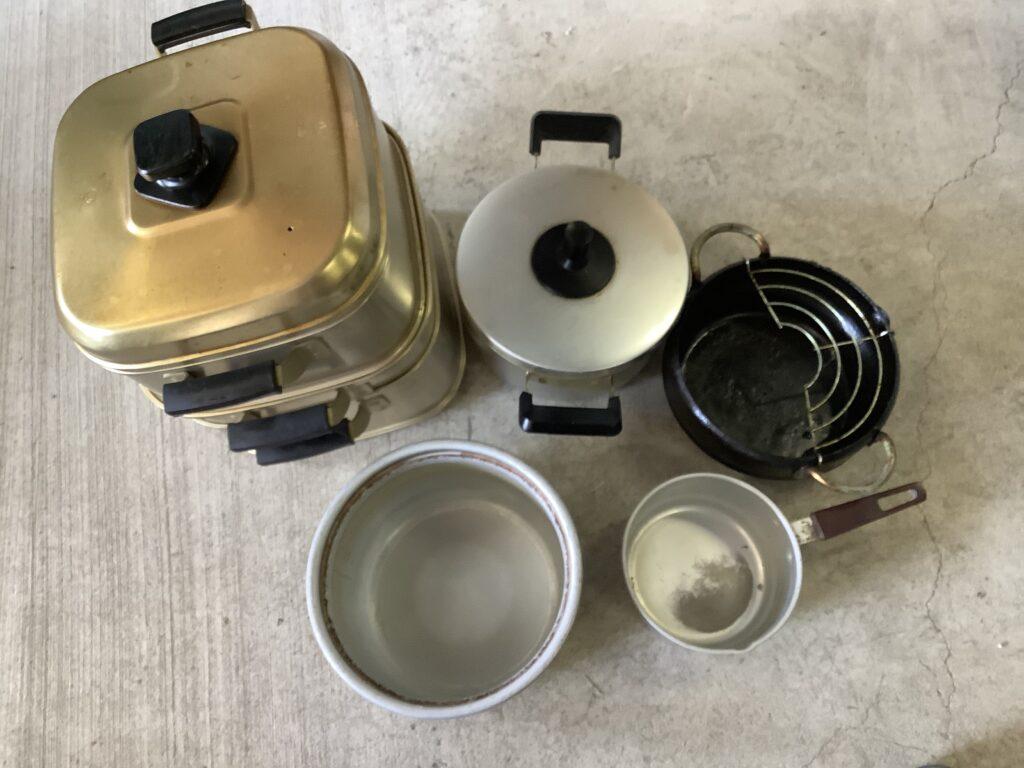 岡山市内で回収した鍋